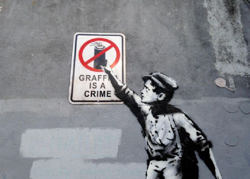 BANKSY - GRAFFITI IS A CRIME canvas print - self adhesive poster - photo print